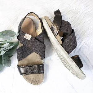 Ecco Damara Cross Strap Gray & Bronze Sandals